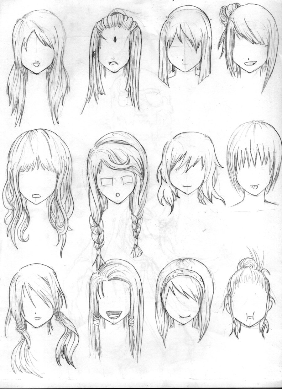900x1239 Anime Girl Hair Drawing Manga Girl Hair Reference Sheet Ii