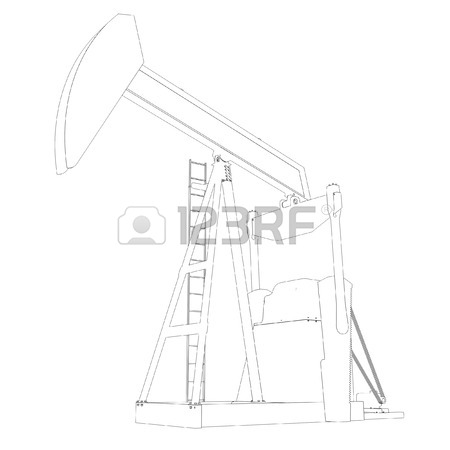 450x450 Illustration Of Row Of Oil And Gas Pump Jacks In Refinery
