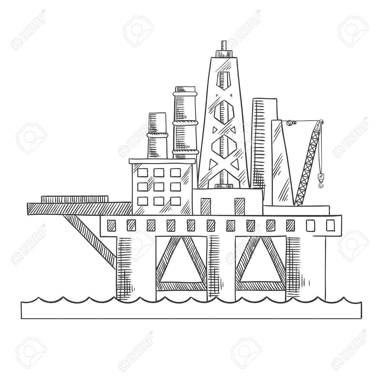 1300x1300 Rising Above The Sea Oil Platform. Platform Drilling Offshore