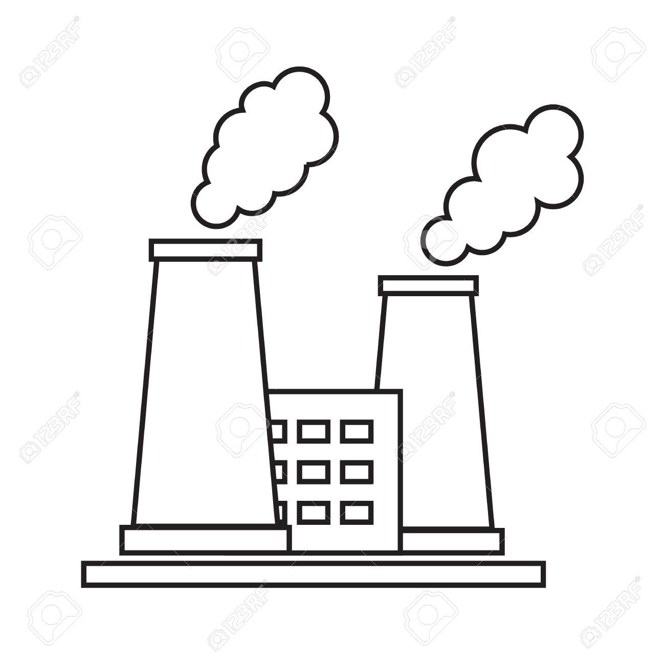1300x1300 Stylized Icon Of The Oil Refinery Plant With Smoking Chimneys On