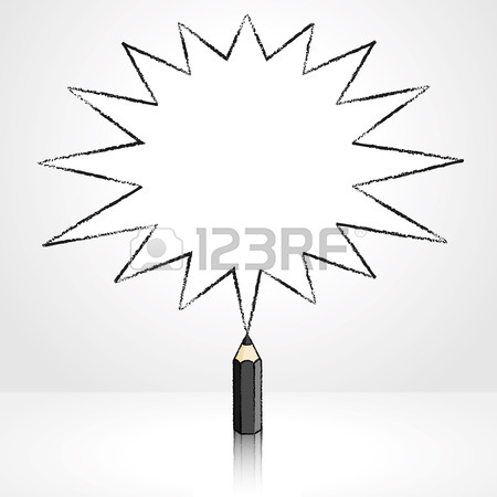 450x450 Black Pencil With Reflection Drawing Pointed Starburst Speech