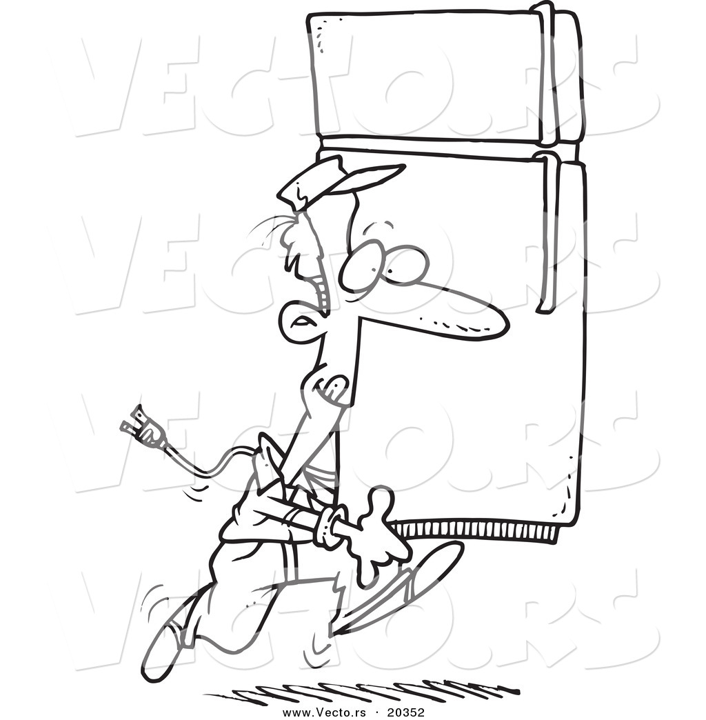 1024x1044 Vector Of A Cartoon Mover Carrying A Fridge