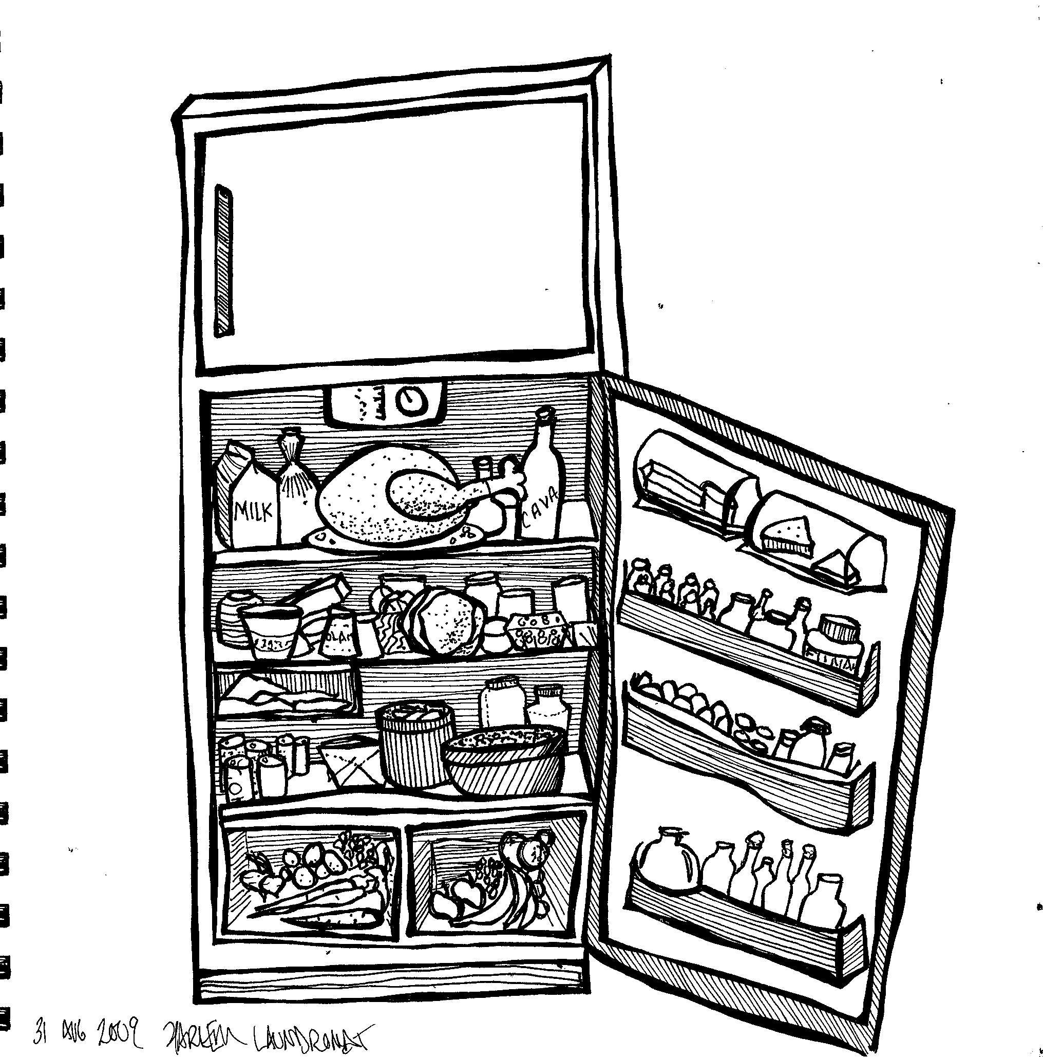 2031x2057 Fridge. Refrigerator. Line Drawing. Mame Mccutchin Line Drawing
