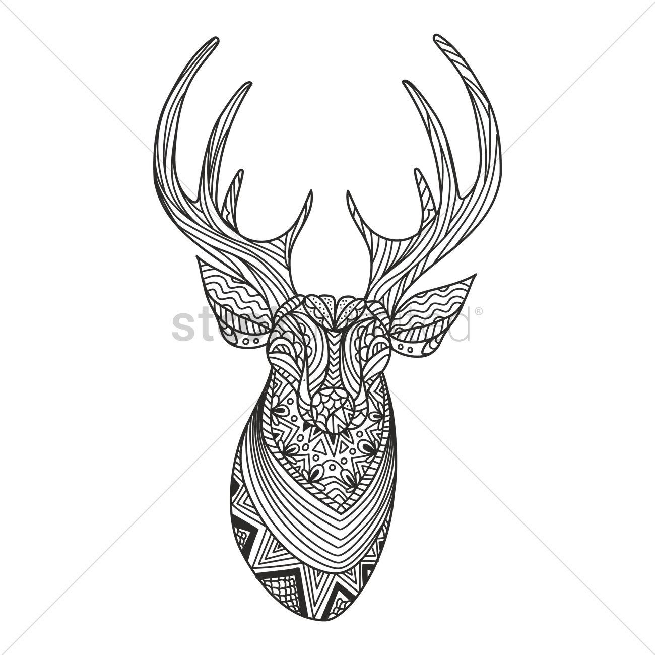1300x1300 Intricate Reindeer Design Vector Image