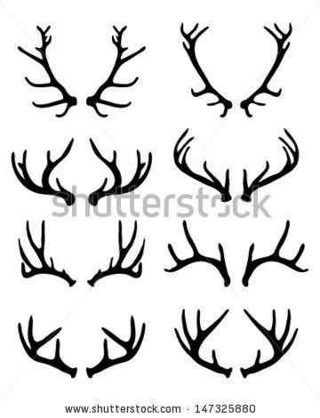 360x470 Silhouettes Of Deer Antlers 2 Vector By Katarinaf, Via