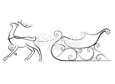 380x278 Minimal Image Of A Reindeer And Sleigh Reindeer Drawing