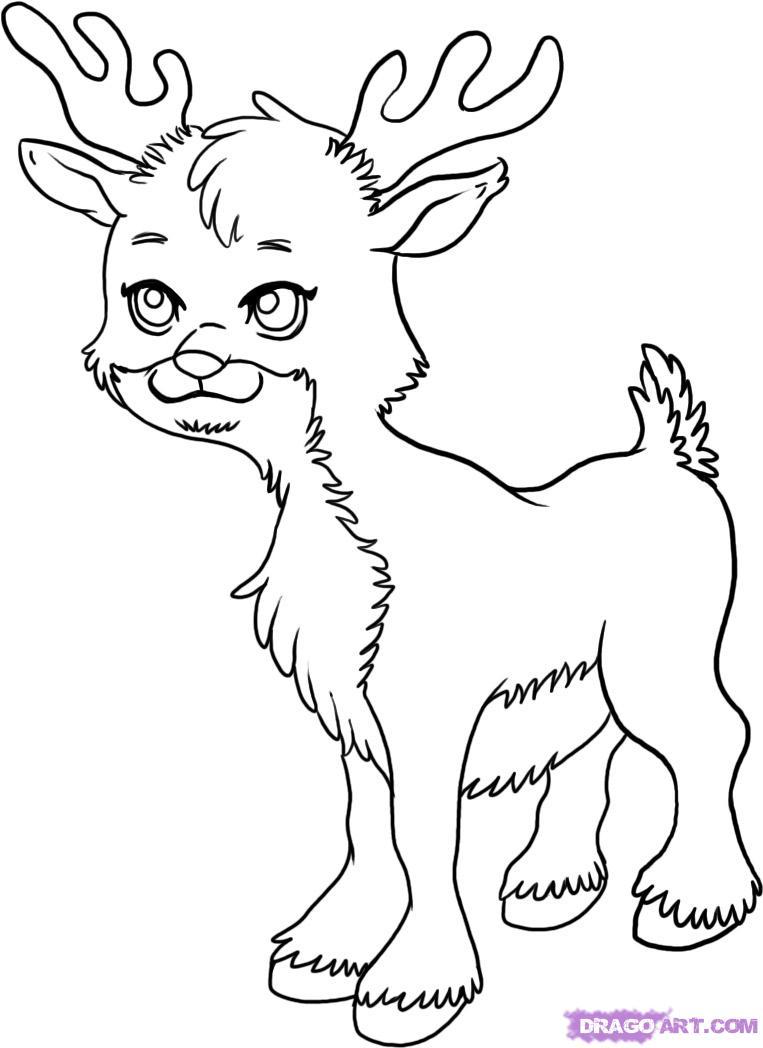 763x1048 Reindeer Drawings Reindeer Template