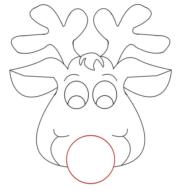 564x609 Reindeer Face Coloring Pages Preschool In Tiny Print Draw White
