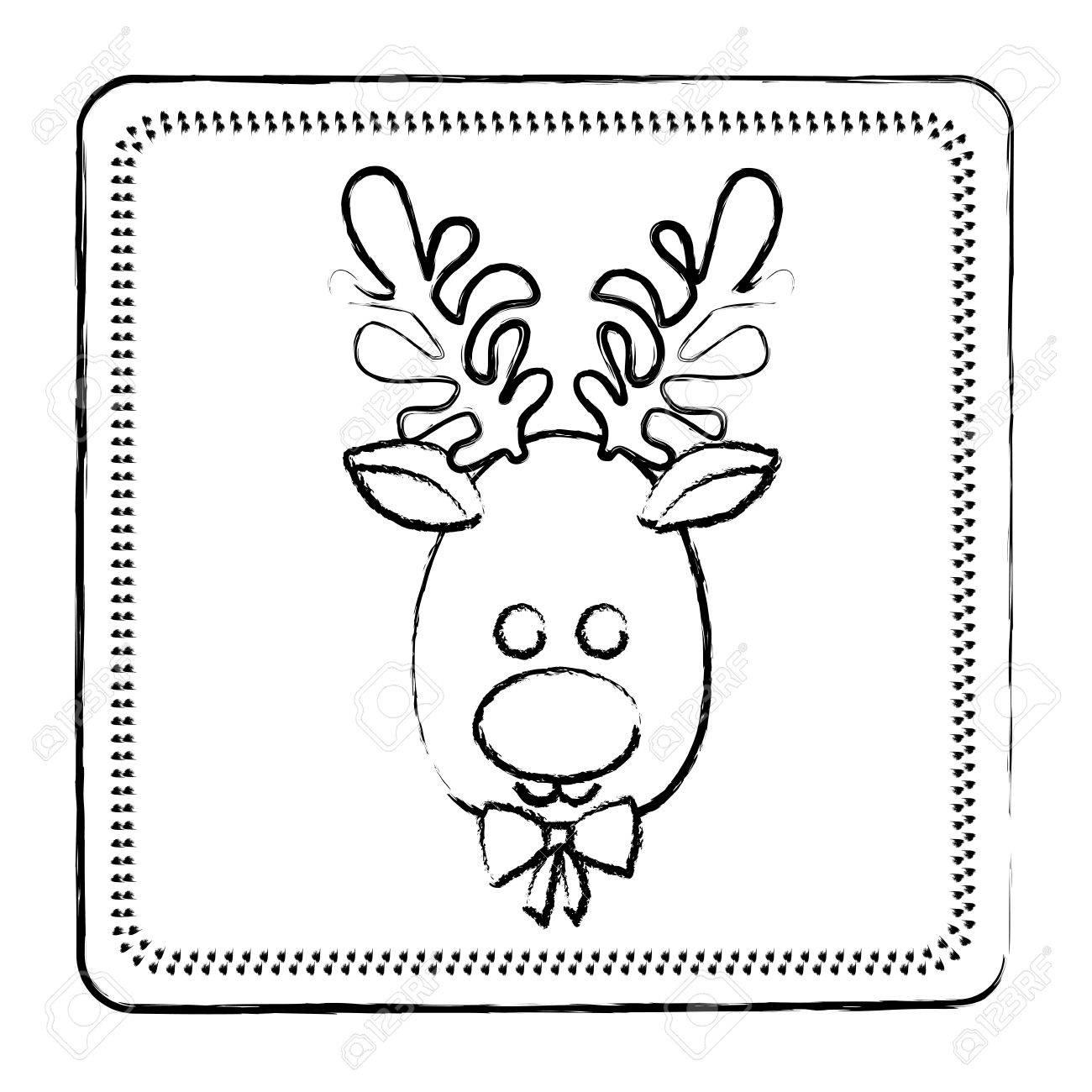 1300x1300 Sketch Frame Of Christmas Reindeer Face Vector Illustration