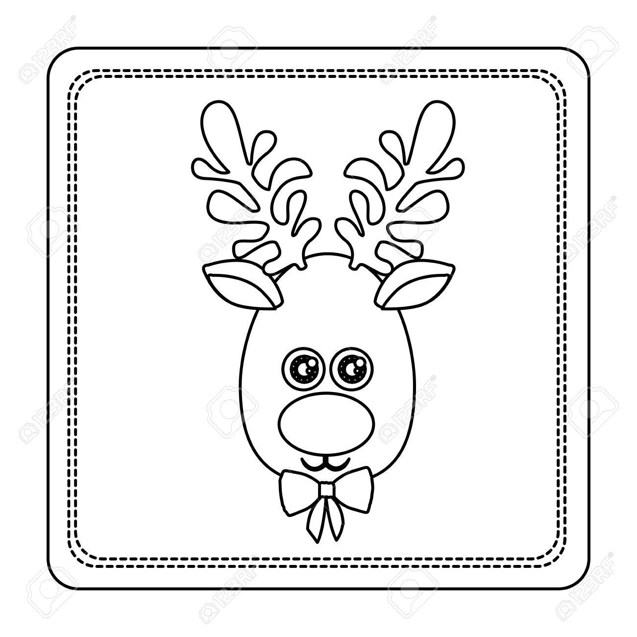 1300x1300 Sketch Silhouette Square Frame With Christmas Reindeer Face Vector