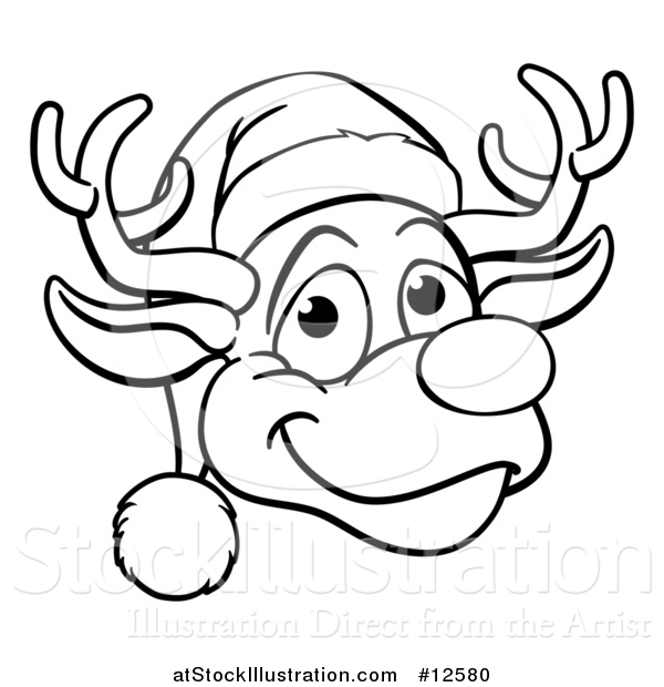 600x620 Vector Illustration Of A Black And White Happy Reindeer Face