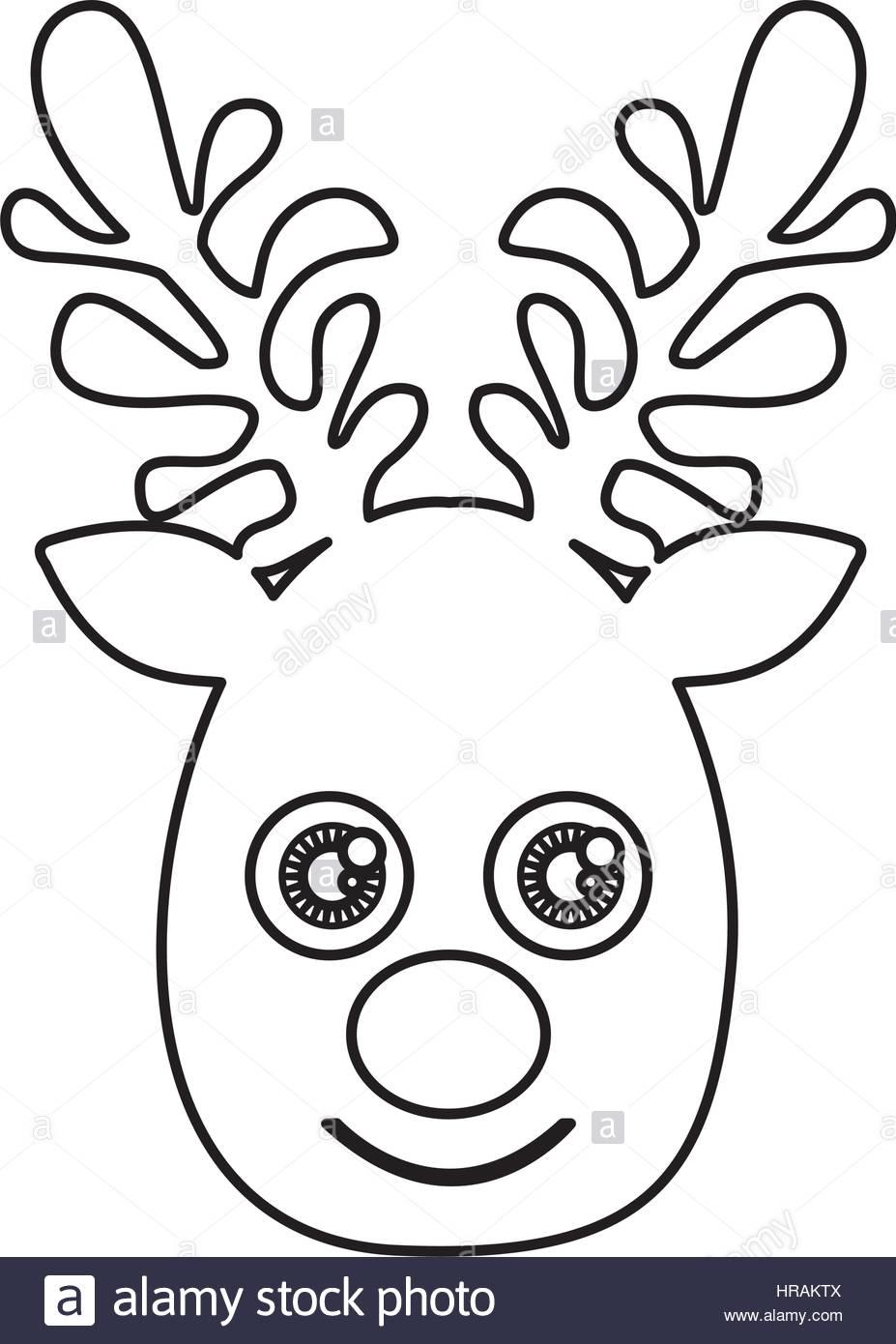 927x1390 Silhouette Cute Face Reindeer Animal Stock Vector Art