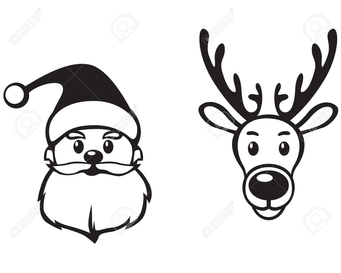 1300x1040 Contour Image Face Of Santa Claus And Reindeer Rudolph Royalty