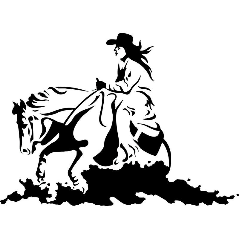 800x800 15.3cm11cm Cowgirl Horse Rodeo Western Cowboy Fashion Vinyl Car