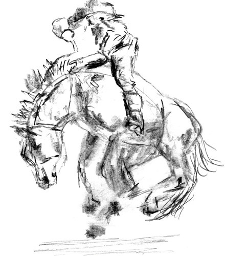 442x500 Rodeo Horse Sketch, Part 3 So Much To Do, So Little Time