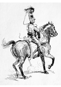 212x300 Soldier On Horse Drawing By Johnson Moya