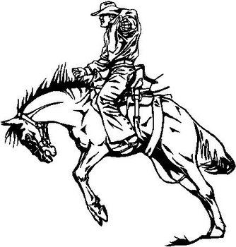 334x350 Riding A Bucking Horse, Vinyl Cut Decal