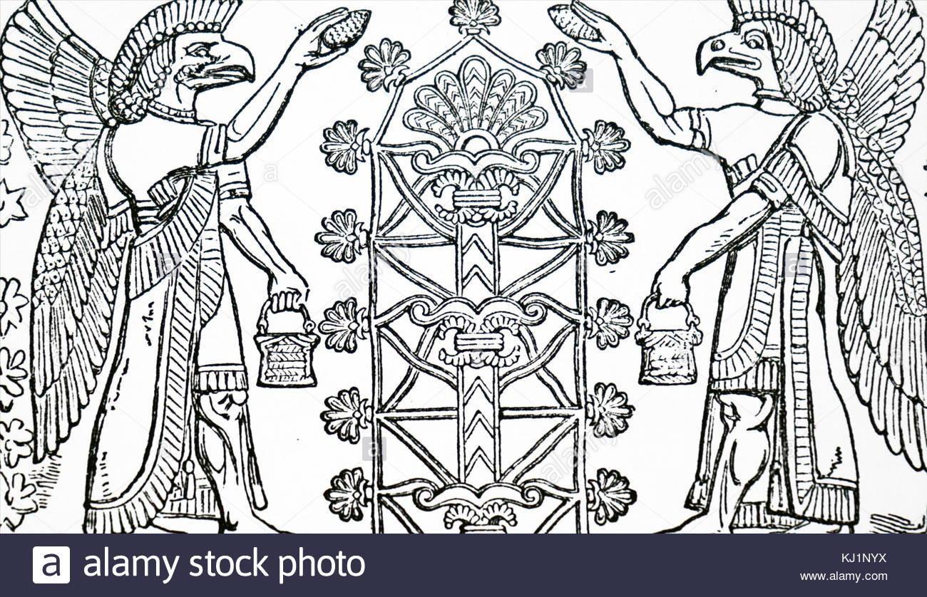 1300x838 Engraving Of A Bas Relief Depicting Assyrian God Nisroch,