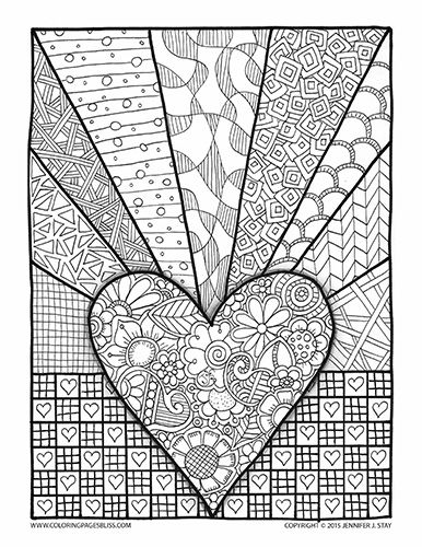 386x500 Valentine's Coloring Page For Adults And Grown Ups. Printable