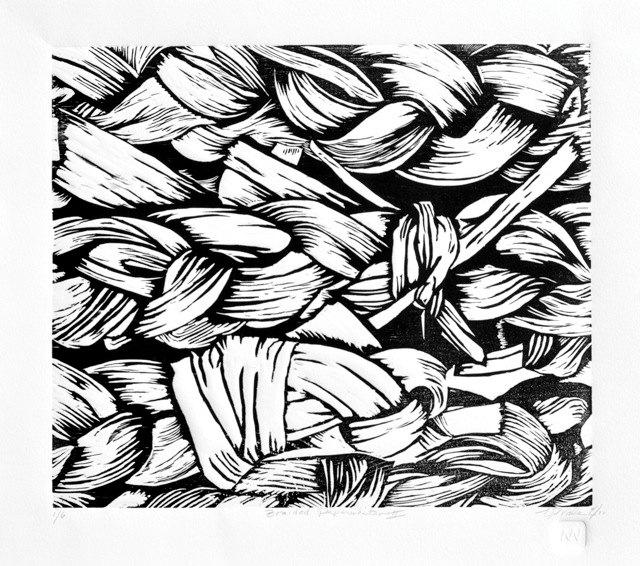 640x566 Woodblock Relief Print, 13x11 Braided Paperwhites Ii Black Amp White