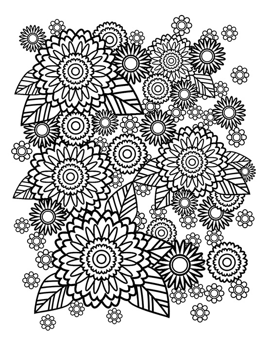 558x723 Stress Relief Coloring Pages Flowers Printable