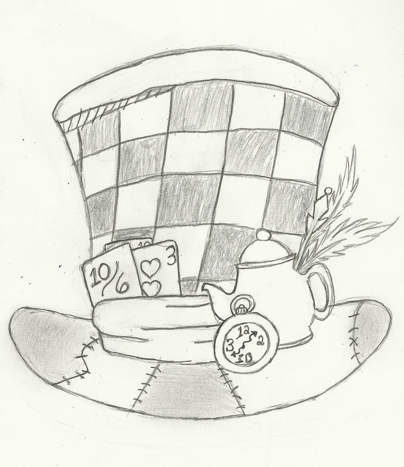 832x961 Mad Hatter Hat Drawing Mad Hatter's Hat By Ninjacat66