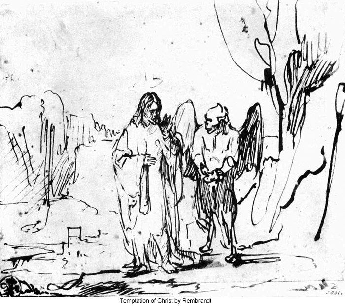 700x622 Temptation Of Christ By Rembrandt Sketch Luke 4 Forty Days In