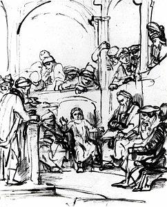 242x300 Christ Among The Doctors Drawing By School Of Rembrandt Van Rijn