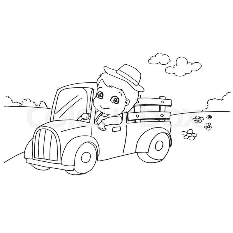 800x800 Image Of Little Boy Driving A Toy Car Coloring Page Vector Stock