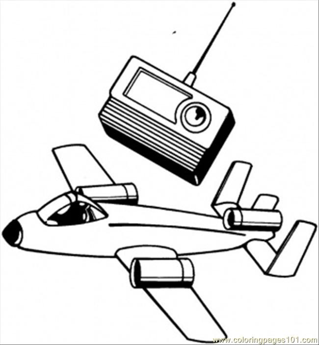 650x702 Plane And Radio Coloring Page