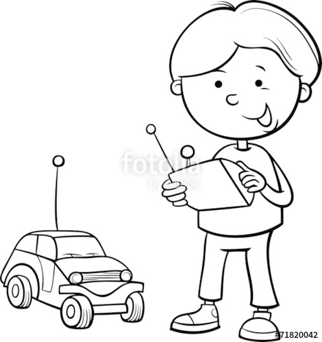 470x500 Boy And Remote Car Coloring Page Stock Image And Royalty Free