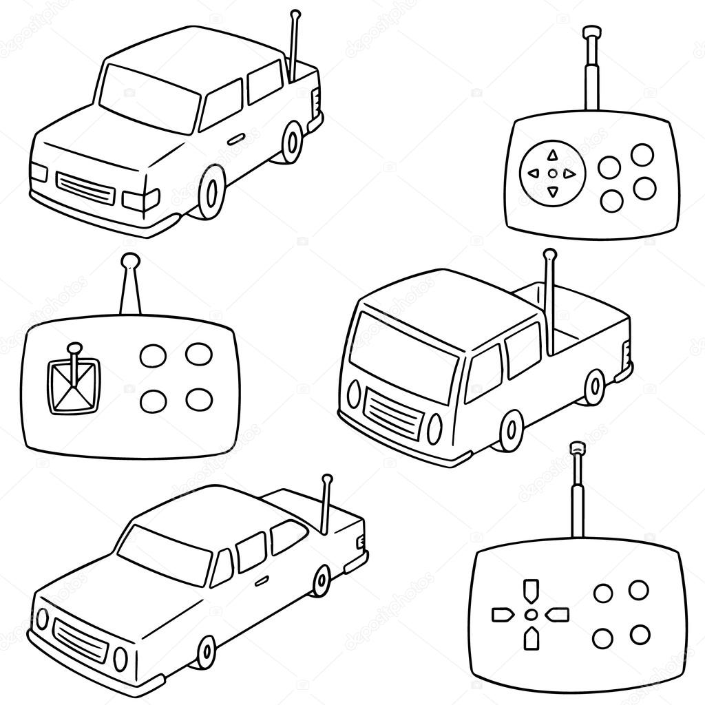1024x1024 Vector Set Of Remote Control Car Stock Vector