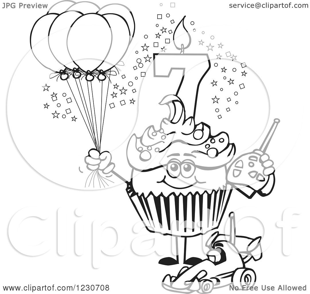 1080x1024 Clipart Of A Line Art Boys Seventh Birthday Cupcake With A Remote