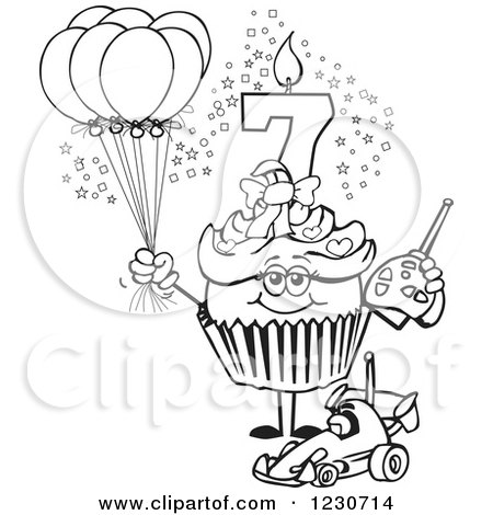 450x470 Clipart Of A Line Art Girls Seventh Birthday Cupcake With A Remote
