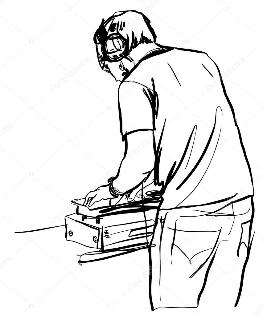 853x1024 Black And White Sketch Dj Remote Control For The Headphones