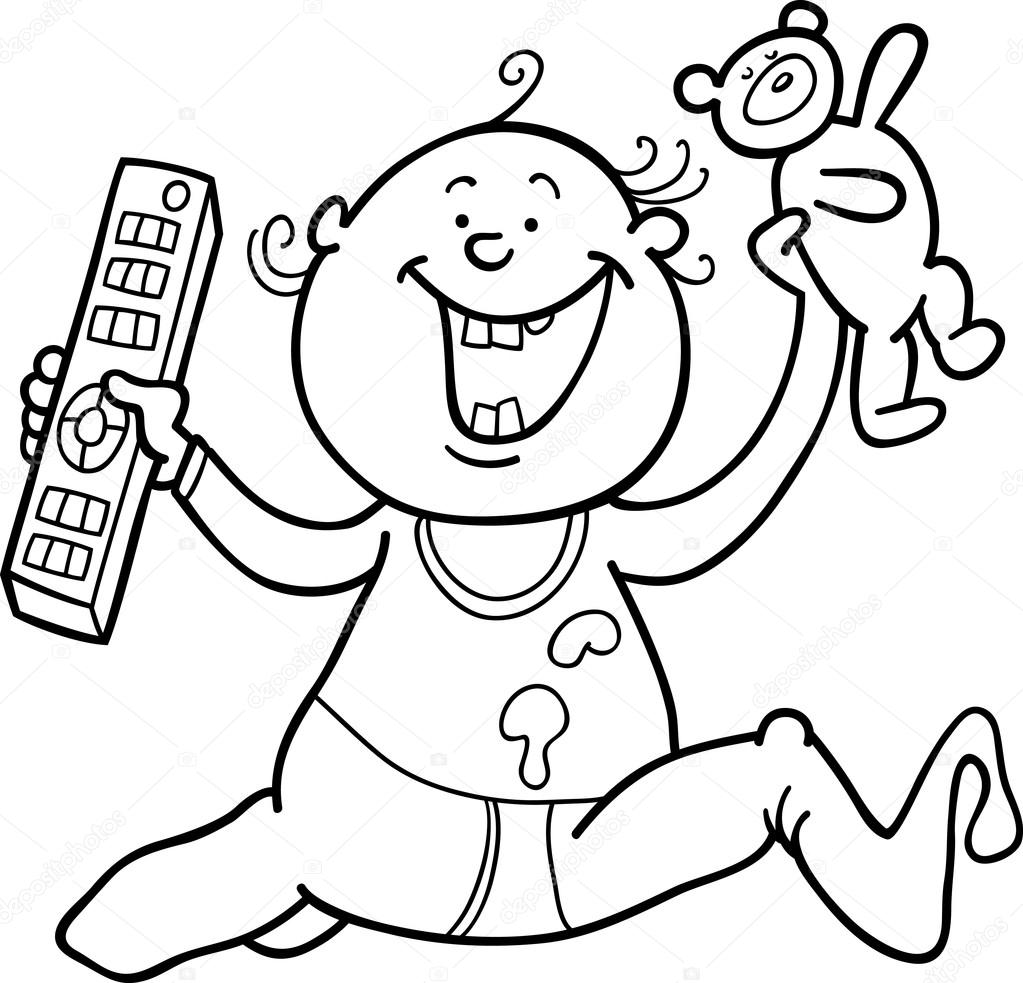 1023x983 Boy With Remote Control And Teddy Bear For Coloring Book Stock