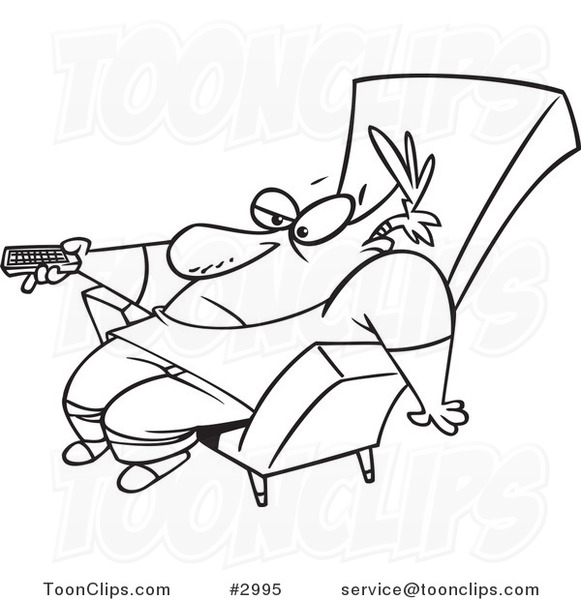 581x600 Cartoon Blacknd White Line Drawing Of Bored Guy Slumped In