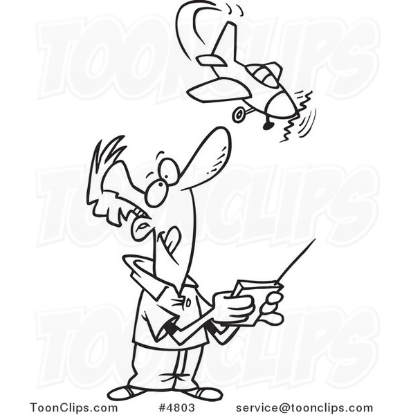 581x600 Cartoon Black And White Line Drawing Of A Guy Flying A Remote