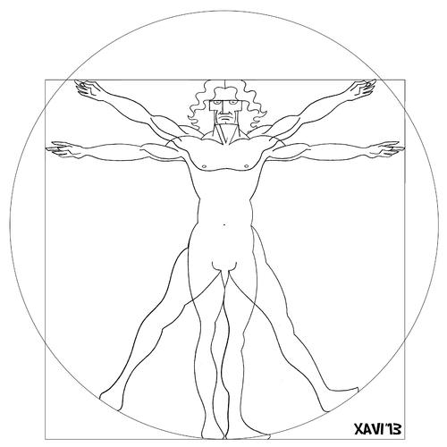 500x500 Vitruvian Man By Xavi Caricatura Famous People Cartoon Toonpool