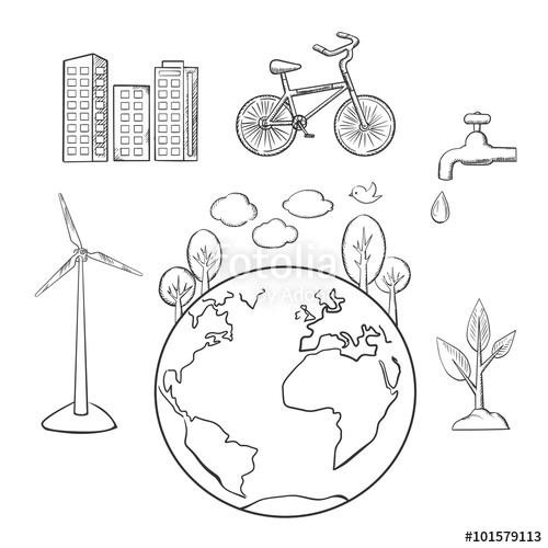 500x500 Environment, Green Energy Ecology Sketches Stock Image