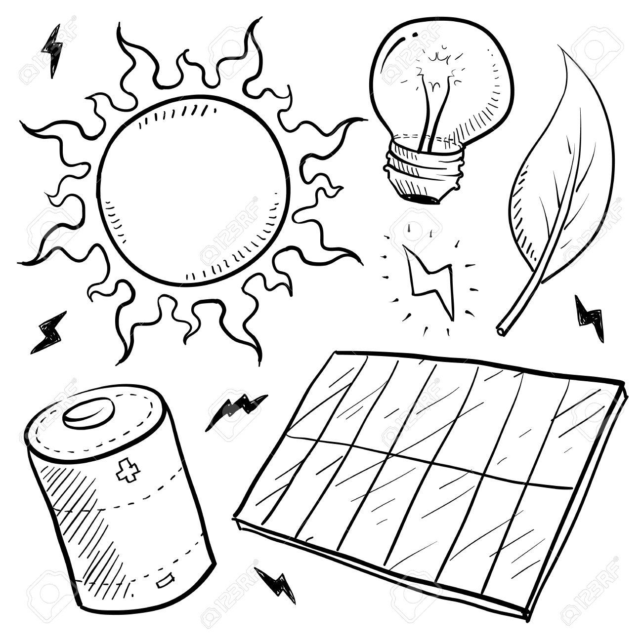 1299x1300 Doodle Style Renewable Solar Energy Equipment Sketch In Vector
