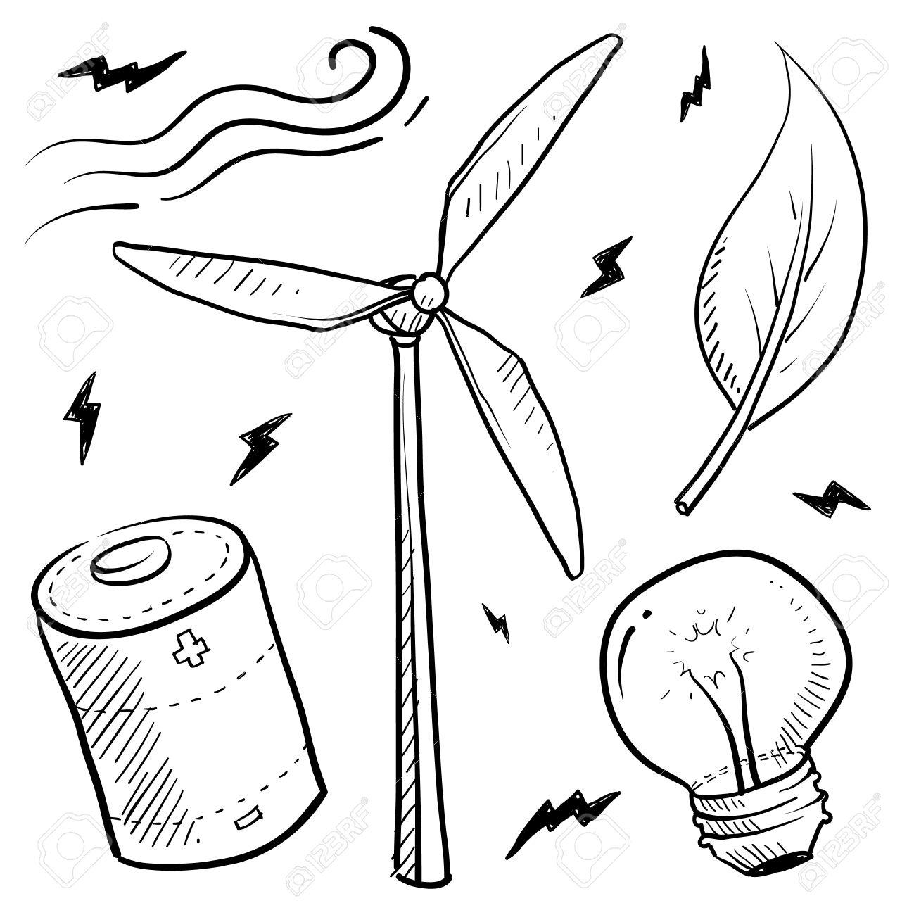 1299x1300 Doodle Style Renewable Wind Energy Sketch In Vector Format Set