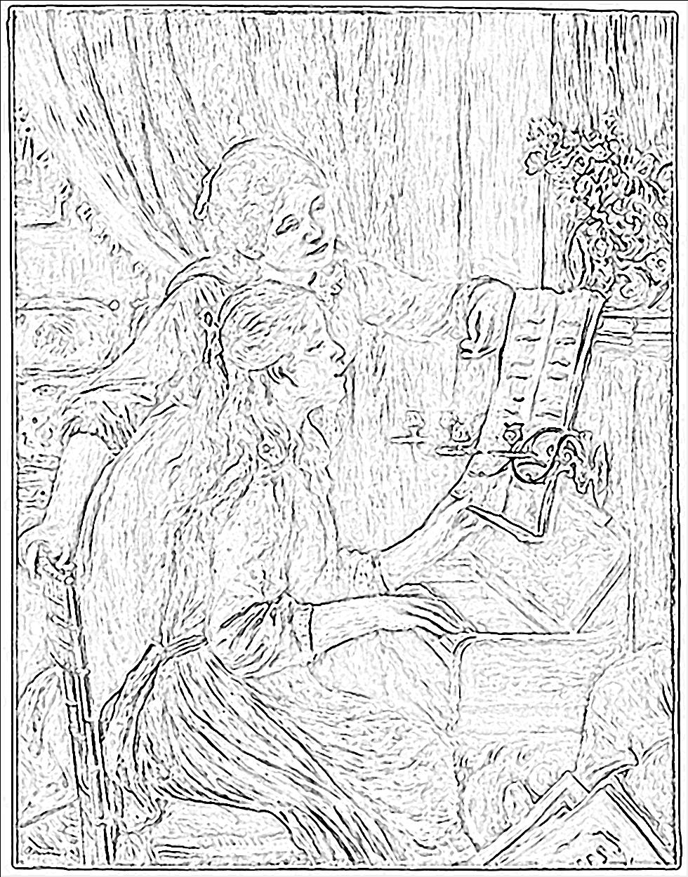 980x1250 Renoir Coloring Famous Paintings Outlines And Sketches
