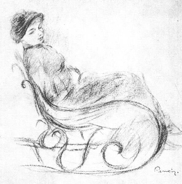 594x600 Woman In A Rocking Chair By Pierre Auguste Renoir