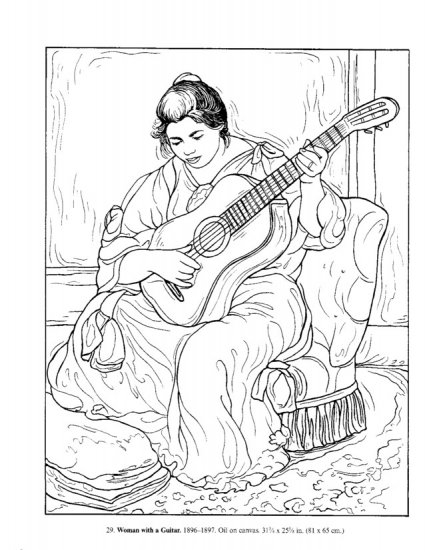425x550 Icolor Masterpieces ~ Woman Playing The Guitar By Pierre Auguste