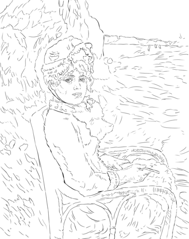 380x480 By The Seashore By Pierre Auguste Renoir Coloring Page