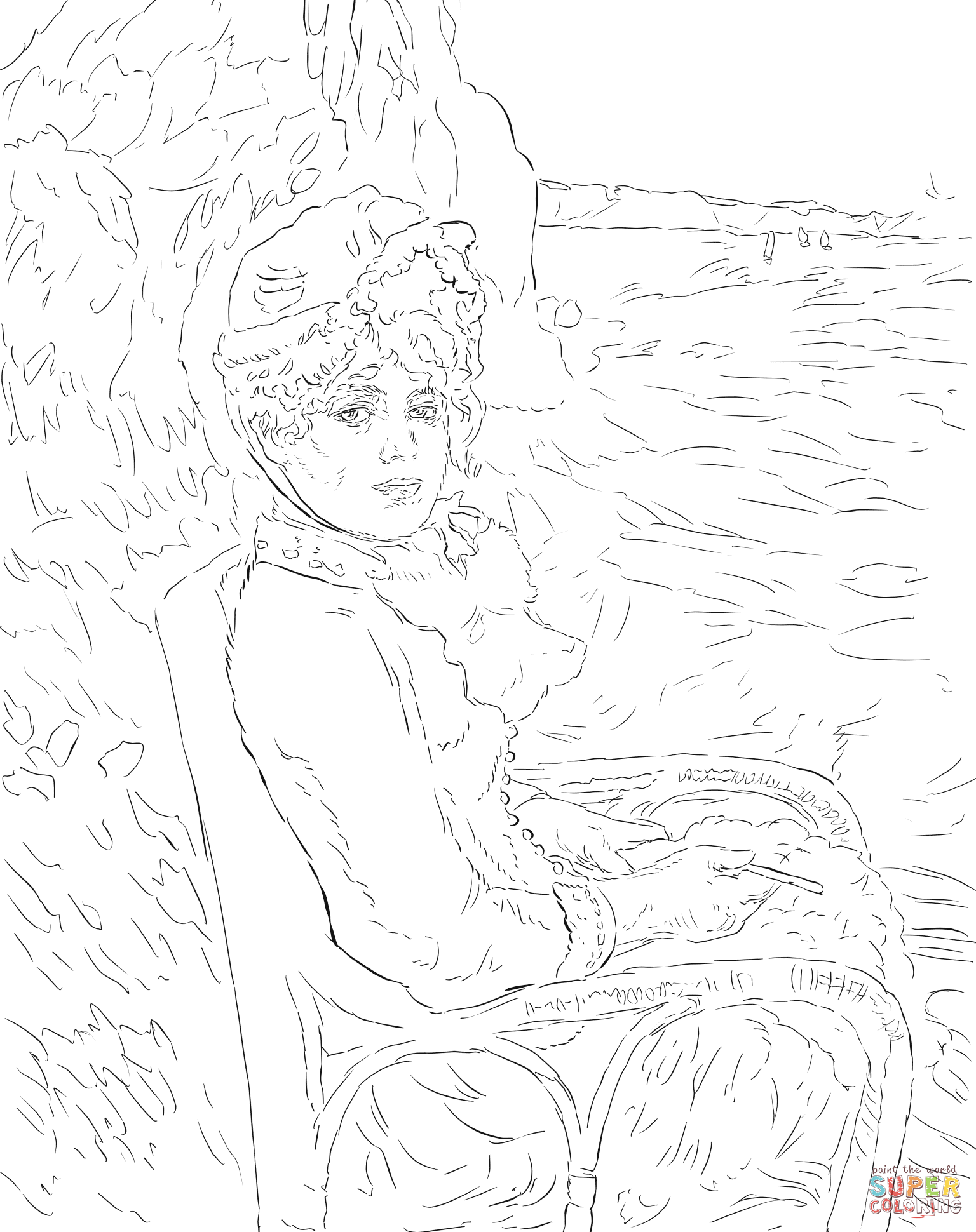 1536x1940 By The Seashore By Pierre Auguste Renoir Coloring Page Free