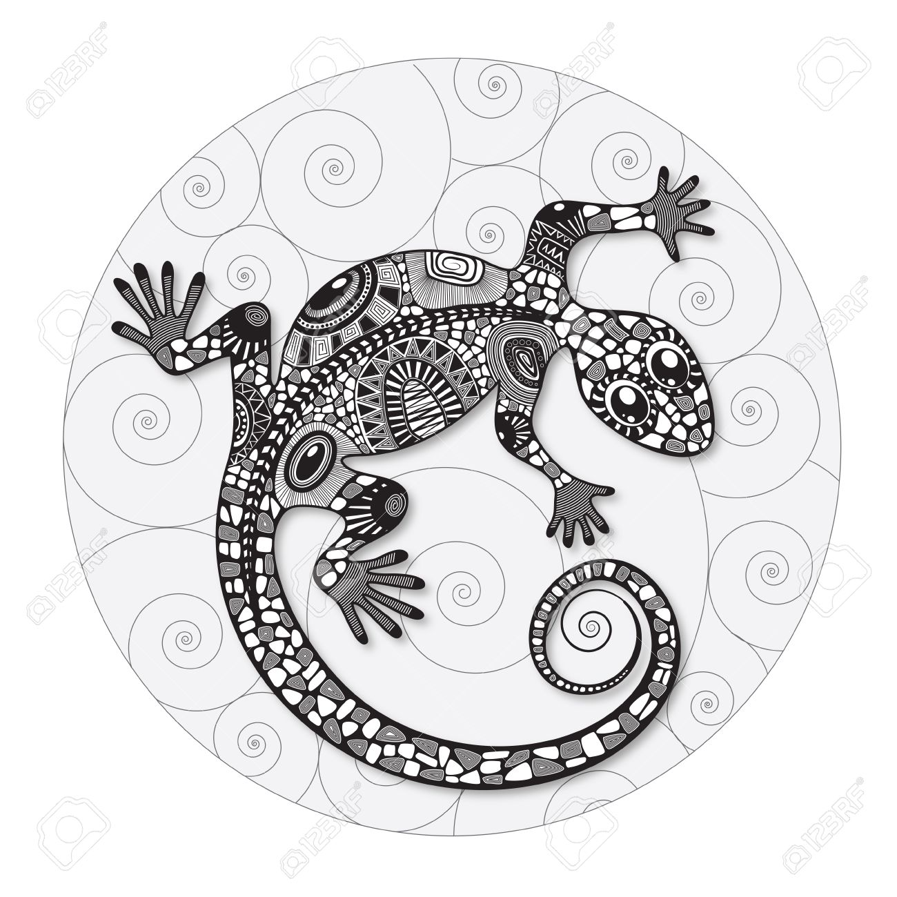 1300x1300 Stylized Drawing Of A Lizard. Lizard Silhouette Covered Various