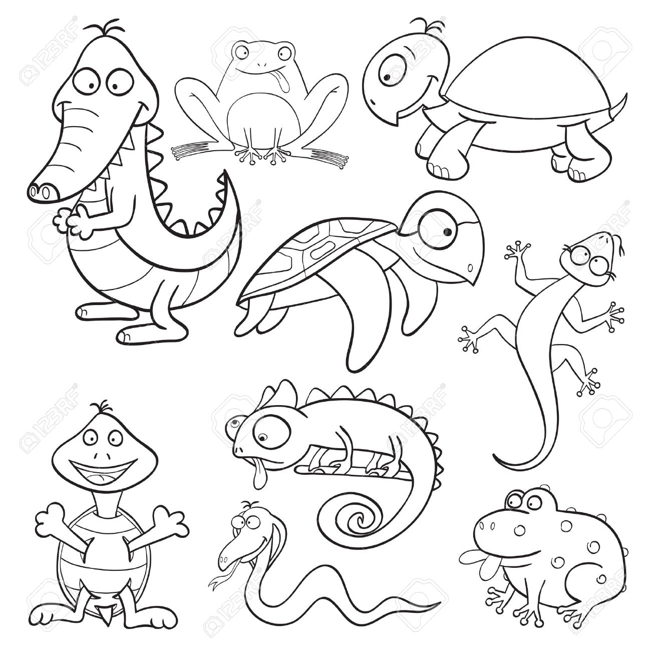 1300x1300 Outlined Cute Cartoon Reptiles And Amphibians For Coloring Book