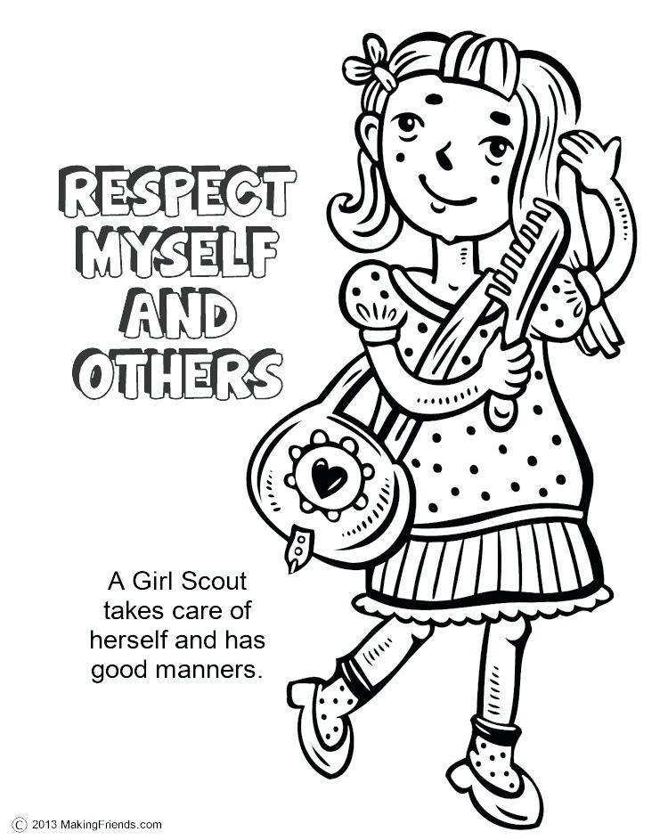 750x943 Respect Coloring Sheets Girl Scouts Respect Myself And Others